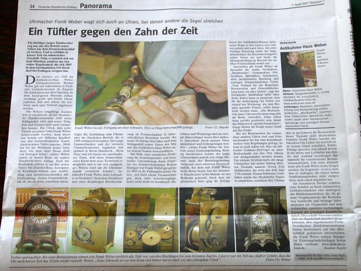 Pressebericht aus der Deutschen Handwerks Zeitung 2007 über Uhrenwerkstatt