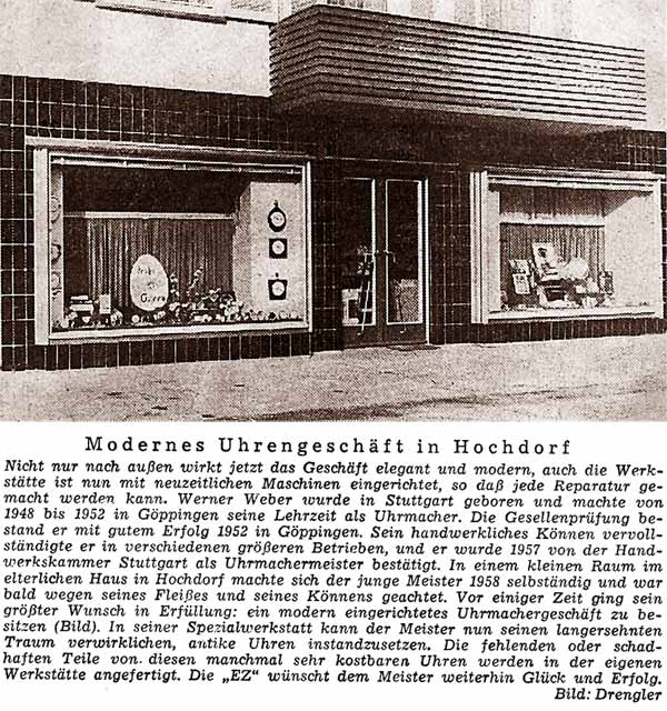 Bericht zur Neueröffnung des Uhrengeschäftes 1958