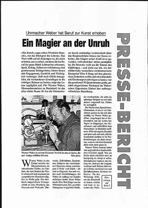 Pressebericht 'Ein Magier an der Unruh'